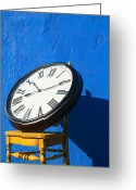 Colours Greeting Cards - Large clock on yellow chair Greeting Card by Garry Gay