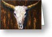 Horns Painting Greeting Cards - Large Cow Skull Acrylic Palette Knife Painting Greeting Card by Mark Webster