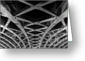 Large Steel Cross Greeting Cards - Large Girder Bridge Greeting Card by Yali Shi