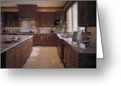 Cupboards Greeting Cards - Large Kitchen Greeting Card by Robert Pisano