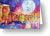 Europe Painting Greeting Cards - Large moon Over Venice  Greeting Card by Ginette Fine Art LLC Ginette Callaway