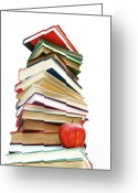Knowledge Greeting Cards - Large pile of books isolated on white Greeting Card by Sandra Cunningham