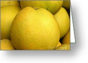 Pomelo Greeting Cards - Large Pomelos Greeting Card by Yali Shi