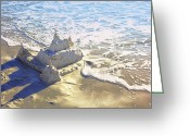 Sandcastle Greeting Cards - Large Sandcastle on the Beach Greeting Card by Skip Nall