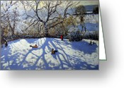 Great Painting Greeting Cards - Large tree and tobogganers Greeting Card by Andrew Macara
