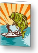 Male Greeting Cards - Largemouth Bass Fish and Fly Fisherman Greeting Card by Aloysius Patrimonio