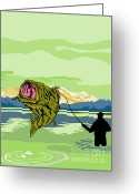 Male Greeting Cards - Largemouth Bass Fish jumping Greeting Card by Aloysius Patrimonio