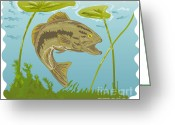 Jumping Digital Art Greeting Cards - Largemouth Bass Jumping Greeting Card by Aloysius Patrimonio