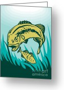 Bass Digital Art Greeting Cards - Largemouth Bass Preying On Perch Fish Greeting Card by Aloysius Patrimonio
