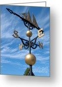 Shipwreck Greeting Cards - Largest Weathervane Greeting Card by Ann Horn