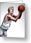 Basketball Greeting Cards - Larry Bird Greeting Card by Dave Olsen