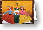 Primitive Mixed Media Greeting Cards - Las Catrinas Greeting Card by Sonia Flores Ruiz