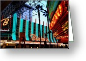 Fremont Street Greeting Cards - Las Vegas Lights II Greeting Card by Susanne Van Hulst