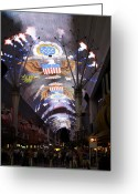 Visual Artist Greeting Cards - Las Vegas Street Light Show Greeting Card by Viktor Savchenko