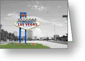 Travelpixpro Greeting Cards - Las Vegas Welcome Sign Color Splash Black and White Greeting Card by Shawn OBrien