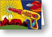 Pop Greeting Cards - Laser Gun Greeting Card by Ron Magnes