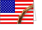 American West Greeting Cards - Lasso and American Flag Greeting Card by Olivier Le Queinec