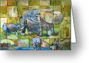Hippopotamus Tapestries Textiles Greeting Cards - Last Big Game Greeting Card by Charlie Spear