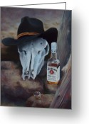 Cowboy Pastels Greeting Cards - Last Chance Saloon or Jim Beams Guardian Spirit Greeting Card by Marcus Moller