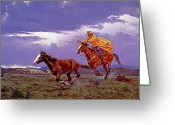 Wild Horse Painting Greeting Cards - Last Dash For Freedom Greeting Card by Randy Follis