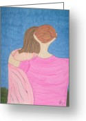Embrace Drawings Greeting Cards - Last Embrace Greeting Card by Nick Roes