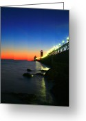 Beach Photographs Greeting Cards - Last Light Grand Haven Michigan Greeting Card by Robert Pearson
