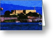 Alcatraz Greeting Cards - Last Light Over Alcatraz . Panorama Cut Greeting Card by Wingsdomain Art and Photography