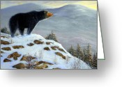 Bears Painting Greeting Cards - Last Look Black Bear Greeting Card by Frank Wilson