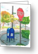 Vertical Painting Greeting Cards - Last-mailbox-in-Toluca-Lake-California Greeting Card by Carlos G Groppa