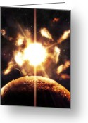Cataclysm Greeting Cards - Last Moment On Earth As Our Sun Greeting Card by Tomasz Dabrowski