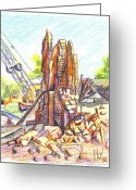 Soft Drawings Greeting Cards - Last of the Lopez Building Main Street Greeting Card by Kip DeVore