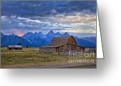 Mountains Photographs Greeting Cards - Last rays of sunlight at Grand Teton National Park Greeting Card by Matt Suess