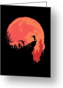 Moon Greeting Cards - Last Stand Greeting Card by Budi Satria Kwan