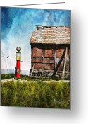 Barn Mixed Media Greeting Cards - Last Stop Texaco Greeting Card by Bob Orsillo