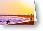Boogie Board Greeting Cards - Last Wave Greeting Card by Jim DeLillo