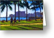 Palm Trees Greeting Cards - Late Afternoon - Queens Surf Greeting Card by Douglas Simonson