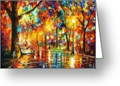 Afremov Greeting Cards - Late Date Greeting Card by Leonid Afremov