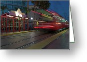 Gaslamp District Greeting Cards - Late For The Trolley Greeting Card by Eddie Yerkish