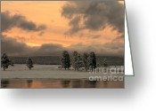 Yellowstone Landscape Art Greeting Cards - Late Spring Storm in Yellowstone Greeting Card by Sandra Bronstein