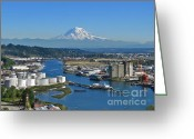 Commencement Bay Greeting Cards - Late Summer Afternoon - Port of Tacoma Greeting Card by Sean Griffin