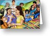 Mexican Pastels Greeting Cards - Latino Family Picnic Greeting Card by Laura Brightwood