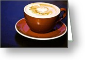 Latte Digital Art Greeting Cards - Latte Art Greeting Card by Barb Pearson