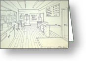 One Point Perspective Greeting Cards - Latte For Work Greeting Card by Heidi Copeman