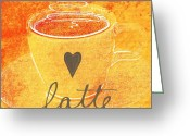Love Mixed Media Greeting Cards - Latte Greeting Card by Linda Woods