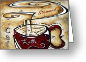 Cuisine Artwork Greeting Cards - Latte Original Painting MADART Greeting Card by Megan Duncanson
