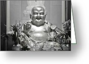 Laughing Greeting Cards - Laughing Buddha - A symbol of joy and wealth Greeting Card by Christine Till - CT-Graphics