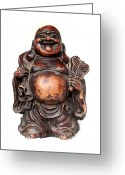 Laughing Greeting Cards - Laughing Buddha Greeting Card by Fabrizio Troiani
