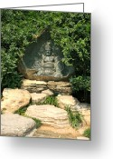 Tai Greeting Cards - Laughing Buddha in Temple Garden Greeting Card by Carol Groenen