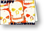 Ghoul Greeting Cards - Laughing Skull Greeting Card by Jame Hayes
