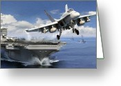Aircraft Carrier Greeting Cards - Launch Greeting Card by Dale Jackson